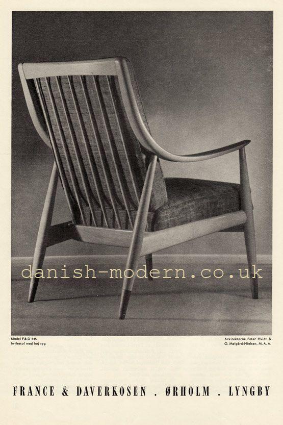 Peter Hvidt & Orla Mølgaard-Nielsen for France & Daverkosen: F&D 145 Chair F&D 145. Armchair with high back. Date of advert: November 1954