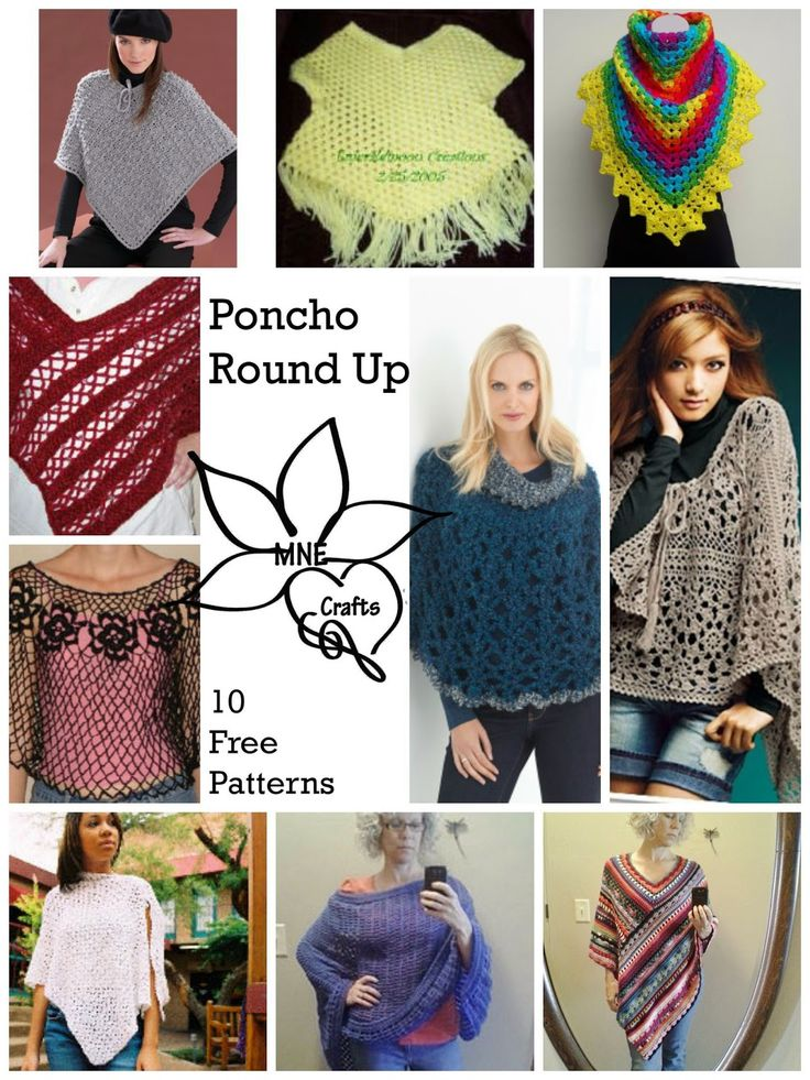 MNE Crafts: Crochet Poncho Round Up - 10 Free Patterns ✿⊱╮Teresa Restegui http://www.pinterest.com/teretegui/✿⊱╮