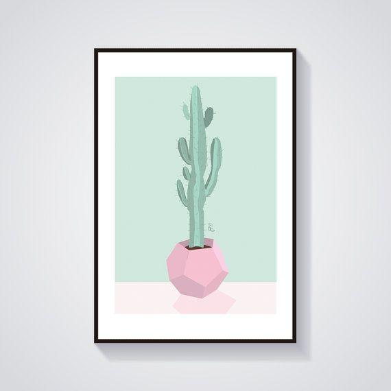 Illustration -Print Cactus Scandinavian Illustration - Geometric vase
