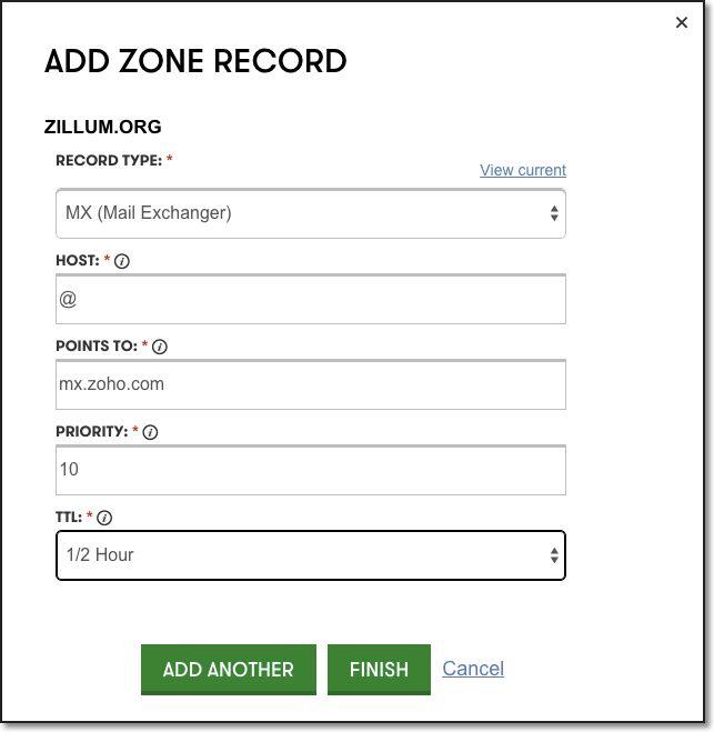 GoDaddy DNS - Zoho Mail CNAME, MX