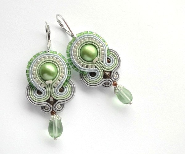 Mint big statement earrings pastel fashion hand embroidered soutache earrings - SALE