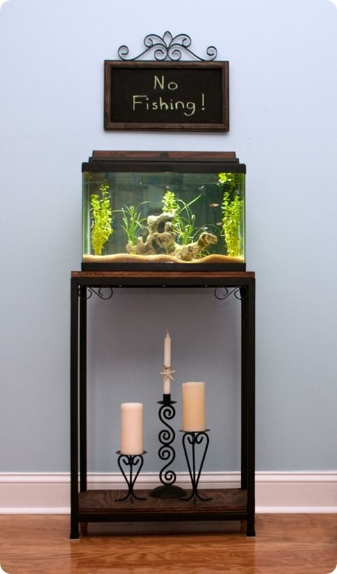 fish tank with book case | Marie was inspired by the Durham Short Bookcase from Ballard Designs .