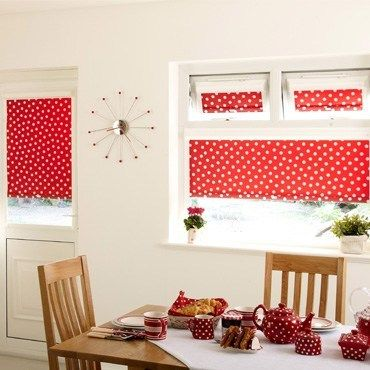 Nice Dining Room Roller Blinds Made From Red And White Polka Dot Fabric Found At  Hillaryu0027s Blinds. Also Loving The Style Atomic Clock.