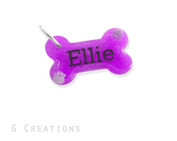 Purple Bone Dog Tag with Paws  Night GLOW by GabriellesCreations