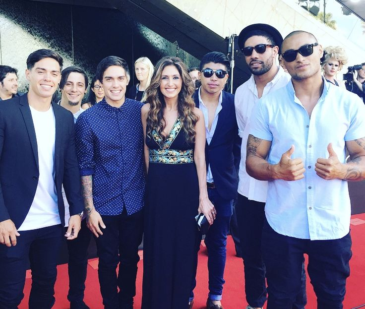 Katrina Kavvalos and Justice Crew on the red carpet at the #AACTAs in Sydney