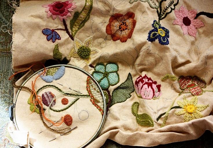 Handmade Crewel Embroidered Christmas Tree Skirt