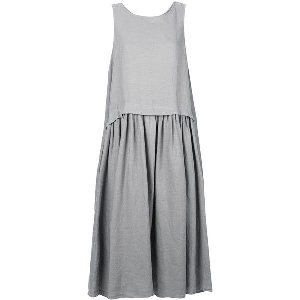 Aspesi flared dress (535 CAD) ❤ liked on Polyvore featuring dresses, grey, flared dresses, long skater skirt, long grey dress, gray dress and flared skirt