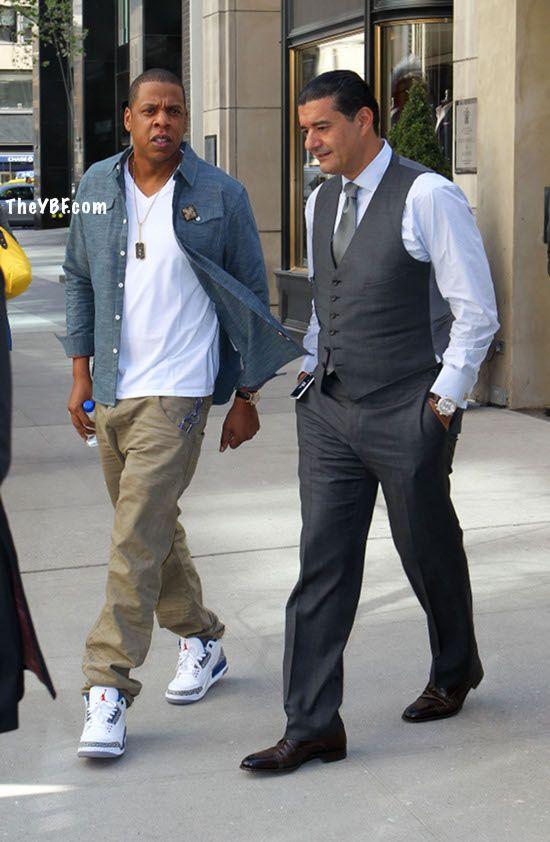 Jay-Z wearing Air Jordan III (3) 'True Blue'