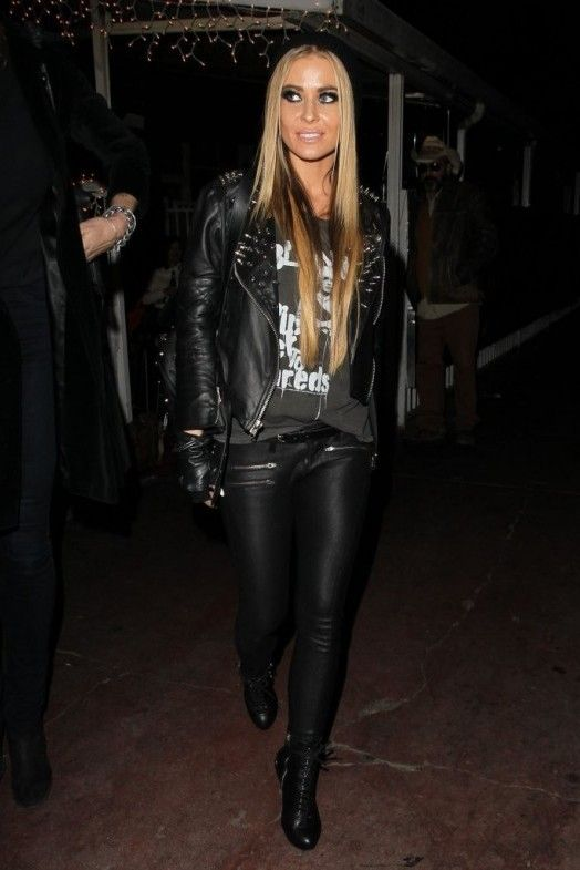 Carmen Electra.. Chaser Blondie Rip Her to Shreds Muscle Tank, Simone Studded Leather Jacket, and Siwy Mick Jeans in Crave..