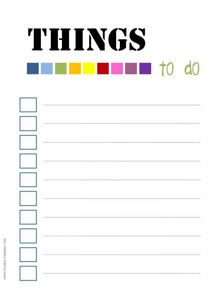13 best Шаблоны для печати images on Pinterest Planners, Free - sample to do list