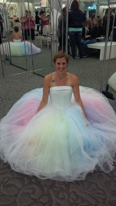 MTCoffins pastel tulle skirt under a wedding gown!