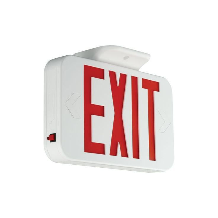 Compass Lighting CER LED Emergency Exit Sign with Universal Face White / Red Commercial Lighting Emergency Lights Exit Signs