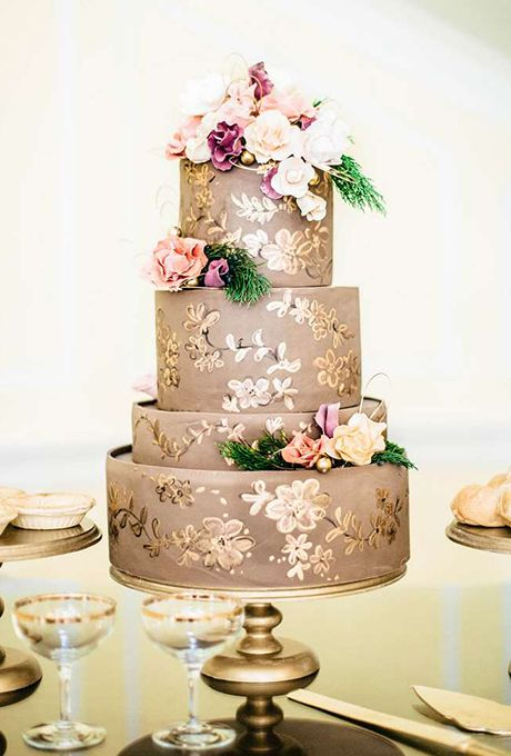 Taupe-and-Gold Wedding Cake | Sky's the Limit Cakes