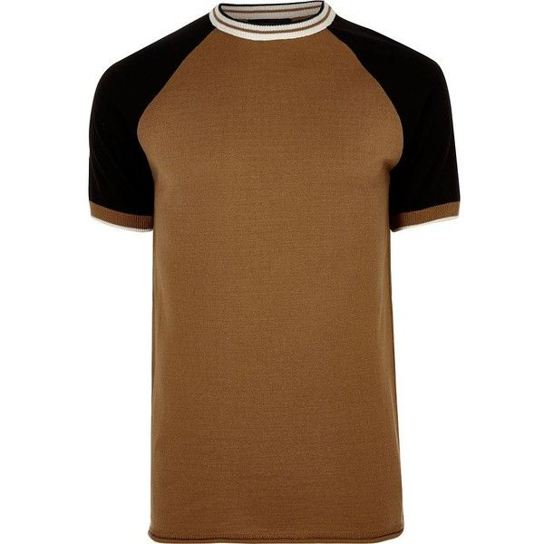 River Island Camel brown slim fit raglan T-shirt ($26) ❤ liked on Polyvore featuring men's fashion, men's clothing, men's shirts, men's t-shirts, jumpers, mens slim fit shirts, mens raglan shirts, mens slim fit short sleeve shirts, mens short sleeve shirts and mens raglan short sleeve t shirts