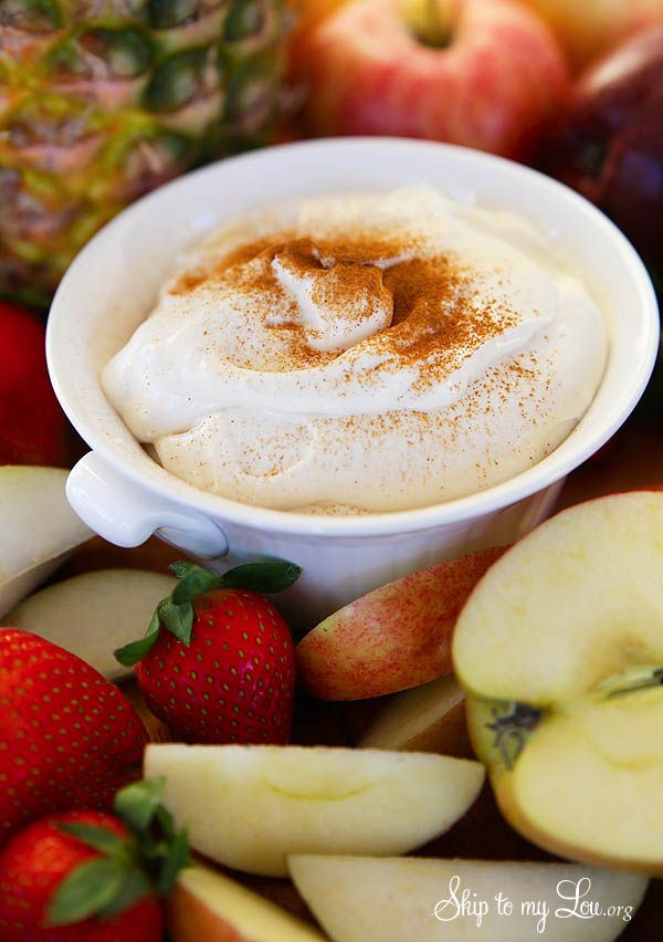 Delicious Rumchata fruit dip for fresh fruit. RumChata cream liquor with its cinnamon and vanilla flavors works well for a creamy dip.