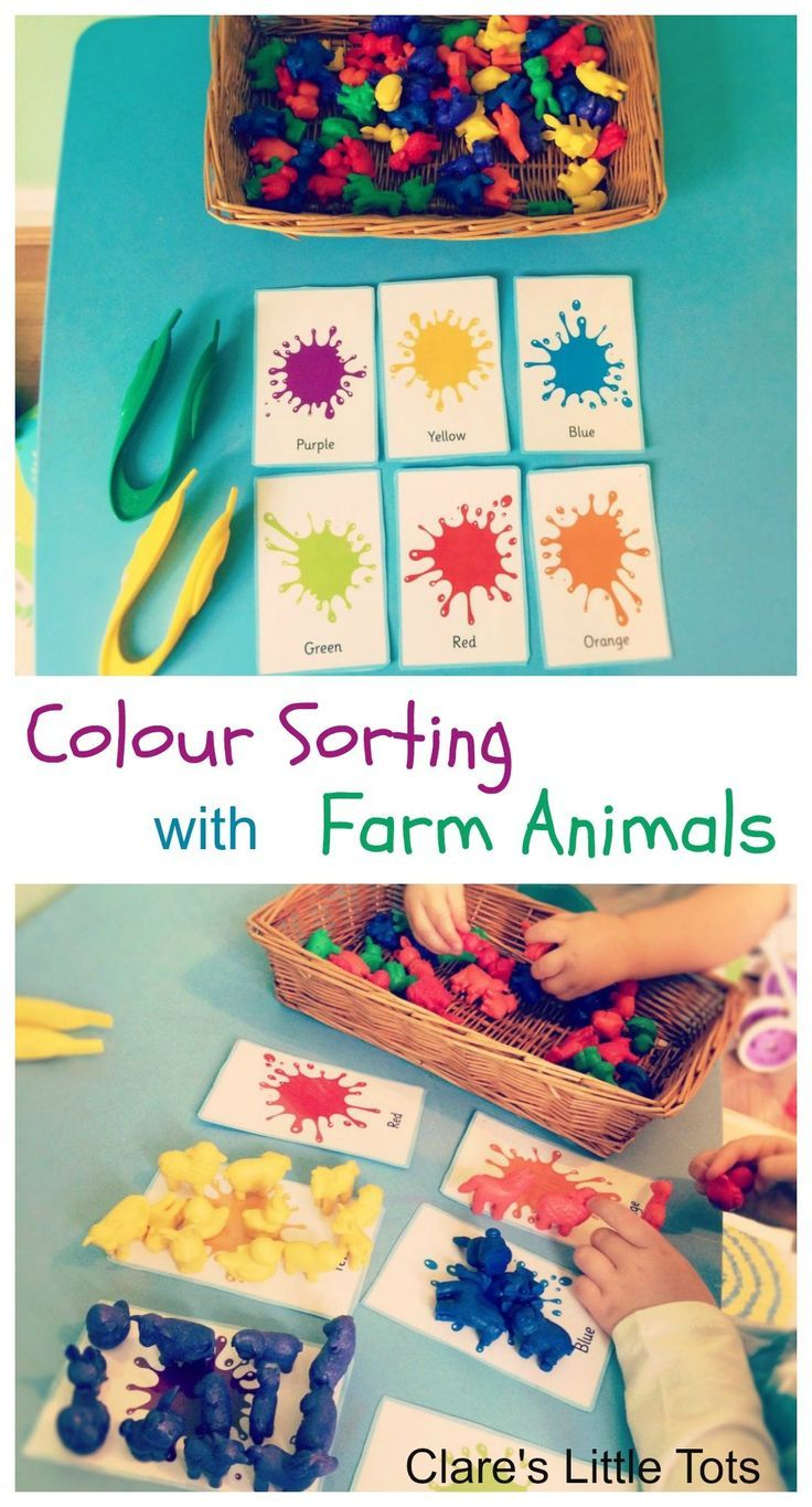 Colour sorting activity for toddlers and preschoolers using farm animal counters. Learn through play with this fun activity.