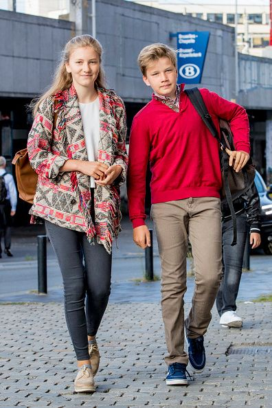 The teenage Princess Elisabeth and Prince Gabriel of Belgium were relatively casually dressed for their first day back at school after the summer holidays on September 1, 2017