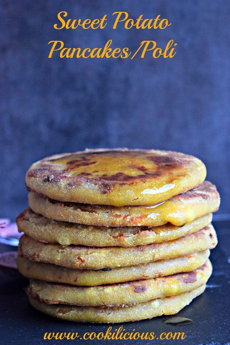 Sweet Potato Puran Poli/Pancakes - Puran Poli is a festive Indian dessert made using lentils & jaggery. Give it a fresh twist by adding sweet potatoes. Serve these sweet pancakes with ghee.