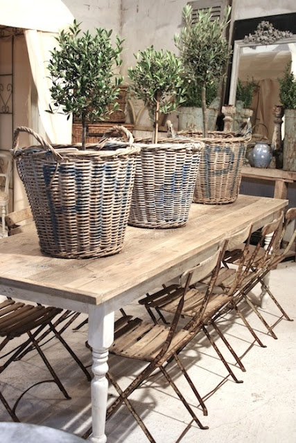 Simple French Chairs with Over-sized Baskets and Topiary Trees