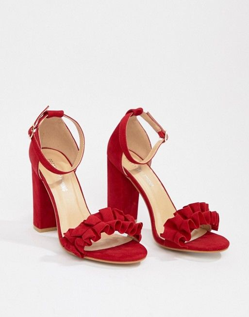 648c732e21f49d PrettyLittleThing ruffle block heeled sandals in red