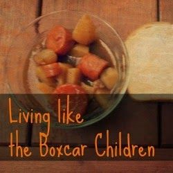 """Living (and eating!) like the Boxcar Children. Grades K-3 unit on Boxcar children includes recipes, construction activities, """"survivalist scavenging"""", and other fun challenges to bring the book Alive!"""