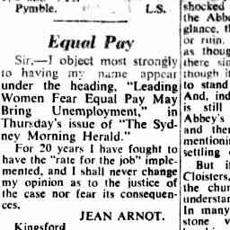 Sydney Morning Herald, letter to the editor by Jean Arnot  25 Sep 1953 - Equal Pay