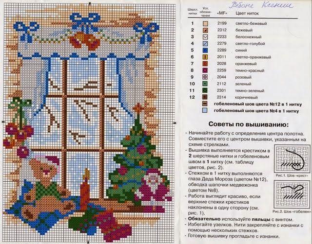 Schema punto croce - Quattro stagioni con gatto alla finestra   Hobby lavori femminili - ricamo - uncinetto - maglia