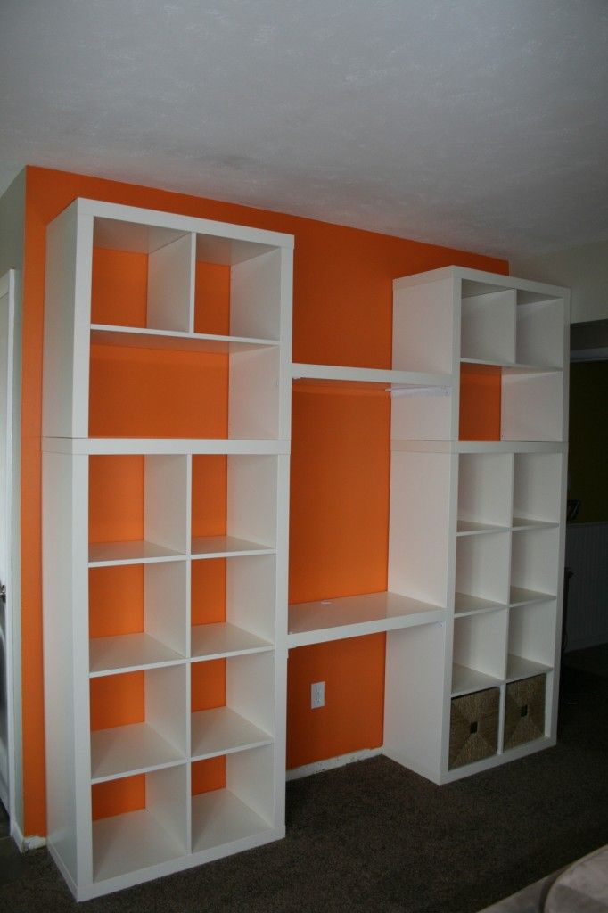 "ikea hack bookshelf/desk- good idea for mounting a ""desk"" in the shelving unit"