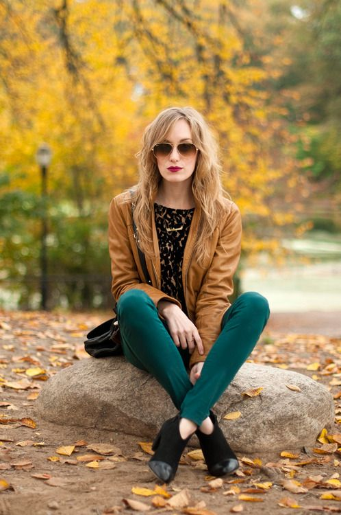 Fall blending...love the teal pants!