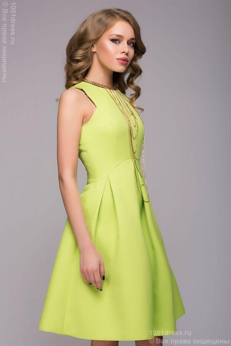 Купить салатовое платье длины мини без рукавов с декоративной молнией на спинке в интернет-магазине 1001DRESS