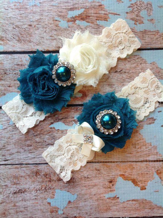 TEAL wedding garter set / bridal garter/ lace garter / toss garter included / wedding garter / vintage inspired