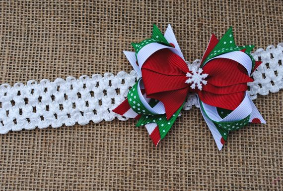 Small Christmas Hair Bow for Baby Stacked by BelleandRoseBows, $5.00