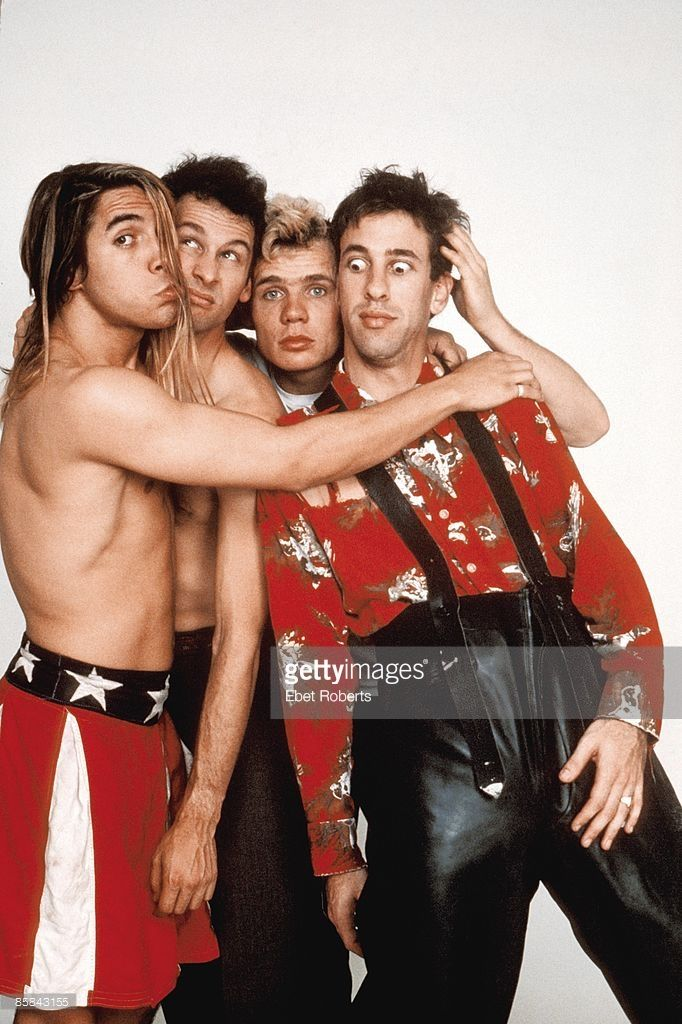Photo of RED HOT CHILI PEPPERS , Cliff MARTINEZ and FLEA and Hillel SLOVAK and Anthony KIEDIS; L-R: Anthony Kiedis, Cliff Martinez, Flea, Hillel Slovak - posed, studio, group shot