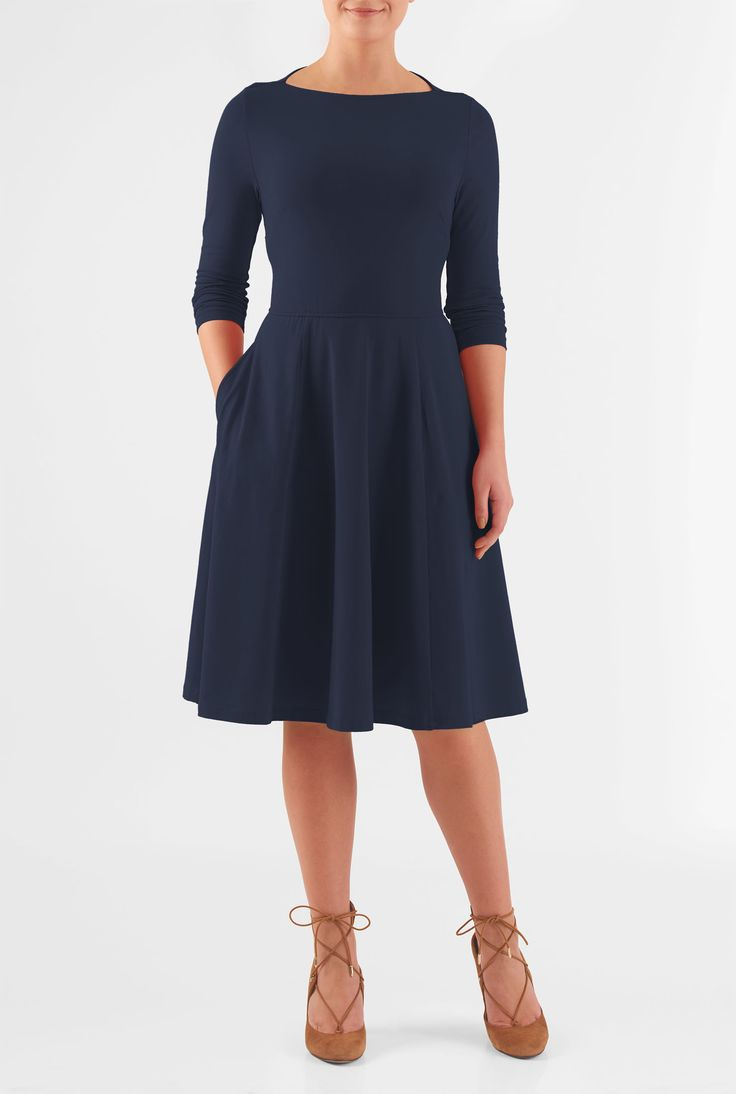 Our retro dress beautifully recaptures ladylike elegance and poise in a soft stretch-jersey with a high boat neckline and a nipped-in waist. The swishy flared skirt has discreet pockets and hits just below the knee.