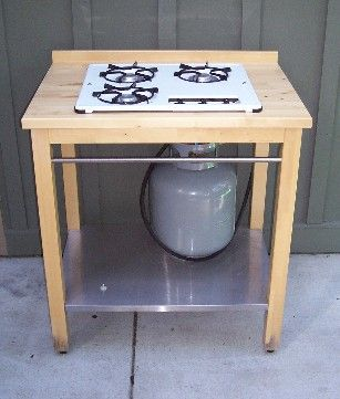Custom Built Outdoor Cooking - a great way to spend more time in the garden. you can use any recycled gas stove top. This would be awesome for canning!