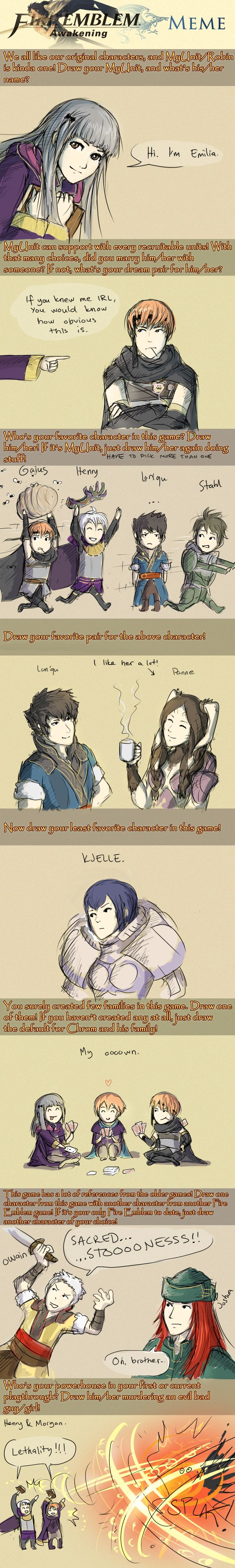 Fire Emblem Awakening Meme (Emilia's version) by Oviot.deviantart.com on @DeviantArt I love Emilia's scrbbles they are just too great... (Plus we both married Gaius....)