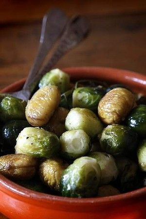 Oven-roasted brussels sprouts with chestnuts. YUM!
