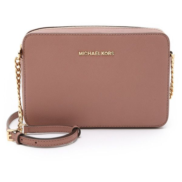 MICHAEL Michael Kors Jet Set Cross Body Bag ($150) ❤ liked on Polyvore featuring bags, handbags, shoulder bags, dusty rose, brown crossbody purse, leather cross body purse, brown shoulder bag, brown leather purse and genuine leather handbags