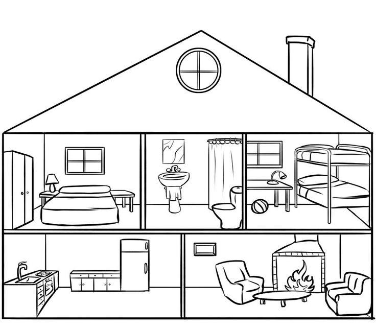 Casa por dentro para colorear por los niños. Dibujos de casas gratis.