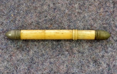 Unusual Antique Sailor Carved Sewing Needle Case of Cattle Bone; Circa 1800's
