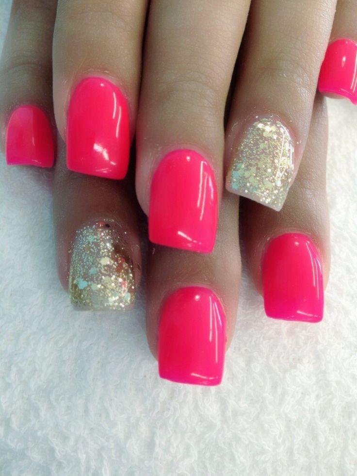 Hot Pink And Gold Nail Designs