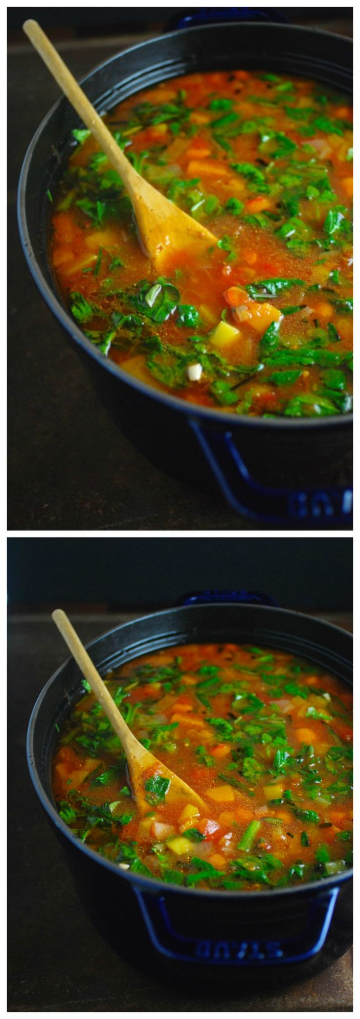 Healthy filling recipe for Winter Vegetable Soup that is chock-full of butternut squash, carrots and spinach. Make a big pot on Sunday and eat it all week for lunch. Vegan, gluten free, paleo, whole30 approved.