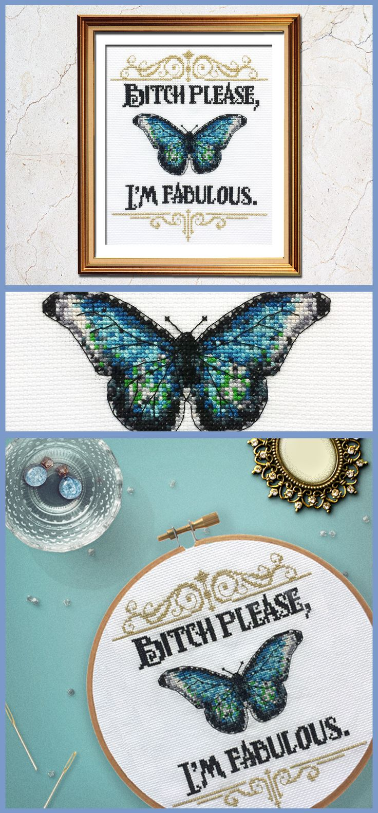 Check out this beautiful butterfly cross stitch! Such a funny cross stitch pattern.