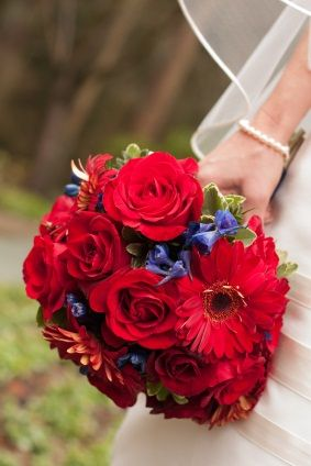 red wedding bouquet - Google Search just a touch of blue, if you are doing red and navy