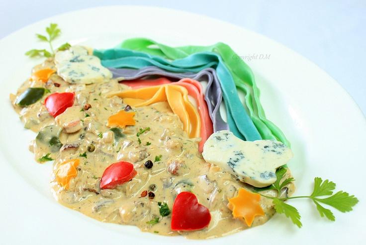 Rainbow Pasta with Gorgonzola Sauce