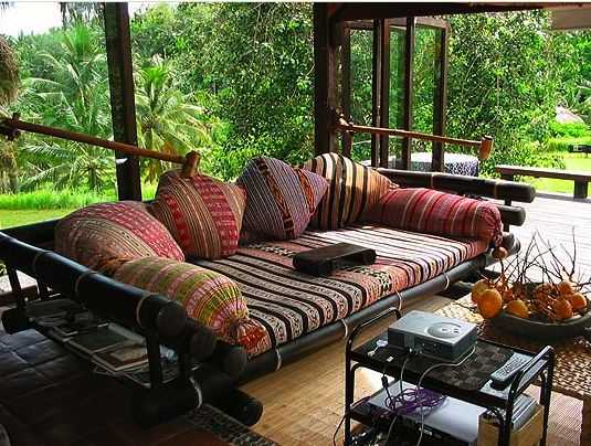 Asian Style Interiors - Bali Sofa great bamboo daybed and Indonesian fabrics! #bohemian #interior