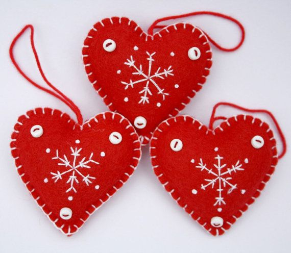 Felt Christmas Heart ornaments,Handmade red and white snowflake hearts,Set of 3 Scandinavian embroidered heart decorations,
