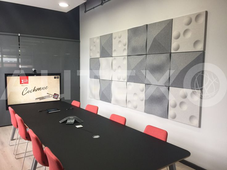 Quietspace® 3D Ceiling Tiles - S-5.37, S-5.26, S.5.36 in colours Silver & Civic - Formica, London, UK - Direct fix to wall