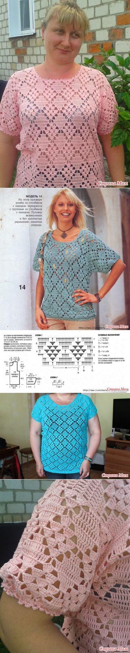Летний пуловер крючком - ВЯЗАНАЯ МОДА+ ДЛЯ НЕМОДЕЛЬНЫХ ДАМ - Страна Мам [] #<br/> # #Crochet #Clothes,<br/> # #Crochet #Tops,<br/> # #Filet #Crochet,<br/> # #Crochet #Patterns,<br/> # #Posts,<br/> # #Kazakhstan,<br/> # #Crochet #Jacket,<br/> # #Pullover,<br/> # #Wobbly<br/>