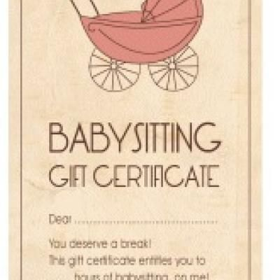 Free babysitting gift certificate printable what a for Babysitting gift certificate template